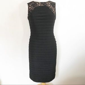 ADRIANNA PAPELL black lace trim cocktail dress 6